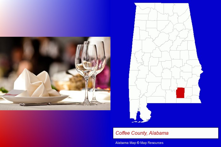 a restaurant table place setting; Coffee County, Alabama highlighted in red on a map