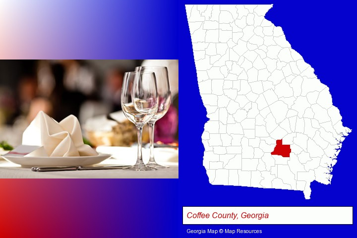 a restaurant table place setting; Coffee County, Georgia highlighted in red on a map