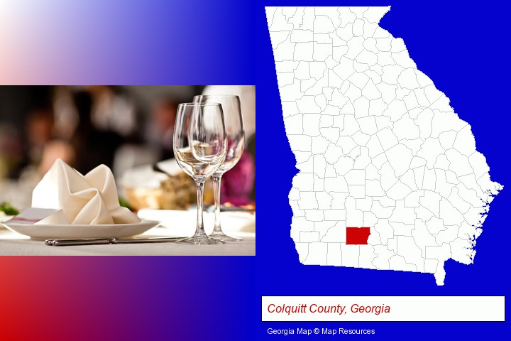 a restaurant table place setting; Colquitt County, Georgia highlighted in red on a map