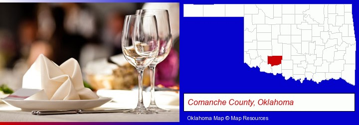 a restaurant table place setting; Comanche County, Oklahoma highlighted in red on a map