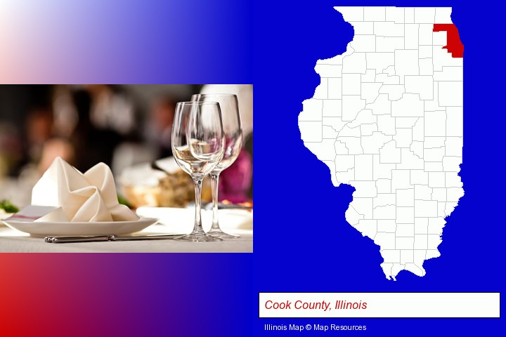 a restaurant table place setting; Cook County, Illinois highlighted in red on a map