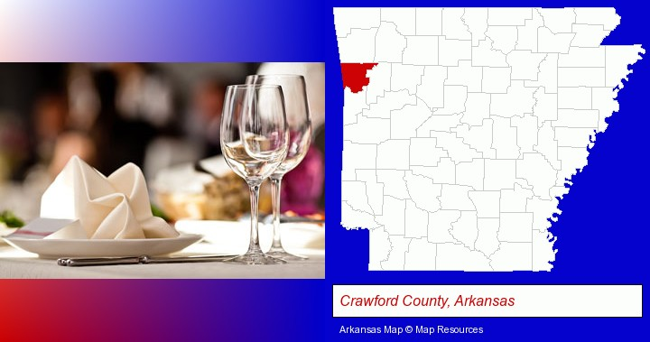 a restaurant table place setting; Crawford County, Arkansas highlighted in red on a map