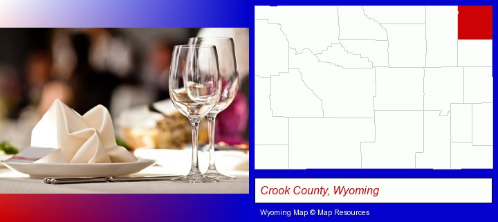 a restaurant table place setting; Crook County, Wyoming highlighted in red on a map
