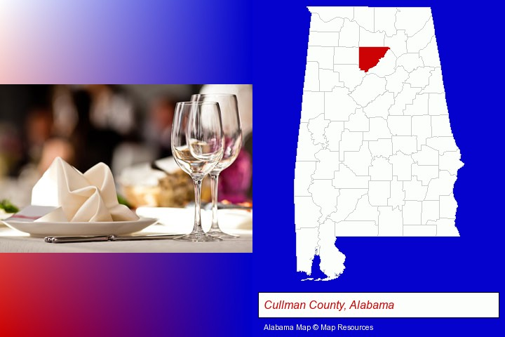 a restaurant table place setting; Cullman County, Alabama highlighted in red on a map