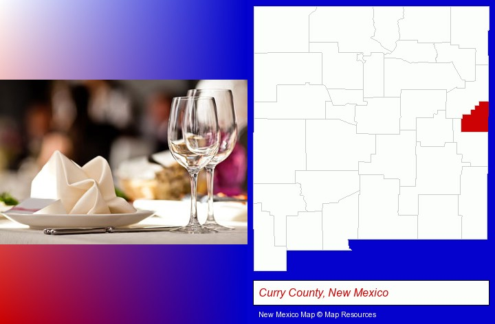 a restaurant table place setting; Curry County, New Mexico highlighted in red on a map