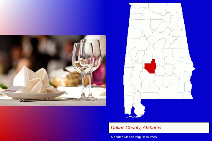 a restaurant table place setting; Dallas County, Alabama highlighted in red on a map