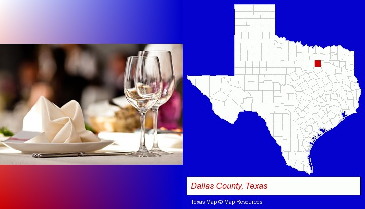 a restaurant table place setting; Dallas County, Texas highlighted in red on a map