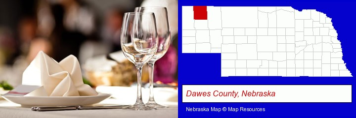 a restaurant table place setting; Dawes County, Nebraska highlighted in red on a map