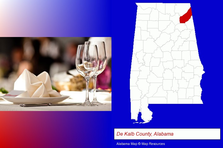 a restaurant table place setting; De Kalb County, Alabama highlighted in red on a map