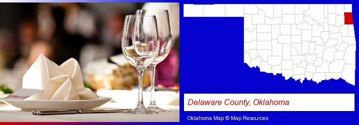 a restaurant table place setting; Delaware County, Oklahoma highlighted in red on a map