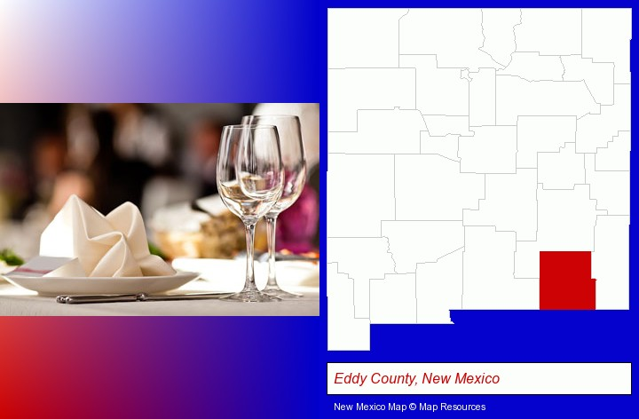 a restaurant table place setting; Eddy County, New Mexico highlighted in red on a map