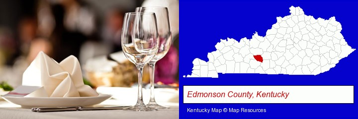 a restaurant table place setting; Edmonson County, Kentucky highlighted in red on a map