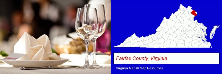 a restaurant table place setting; Fairfax County, Virginia highlighted in red on a map