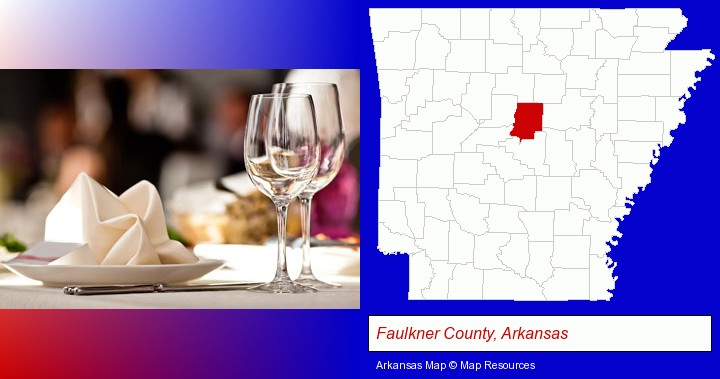a restaurant table place setting; Faulkner County, Arkansas highlighted in red on a map