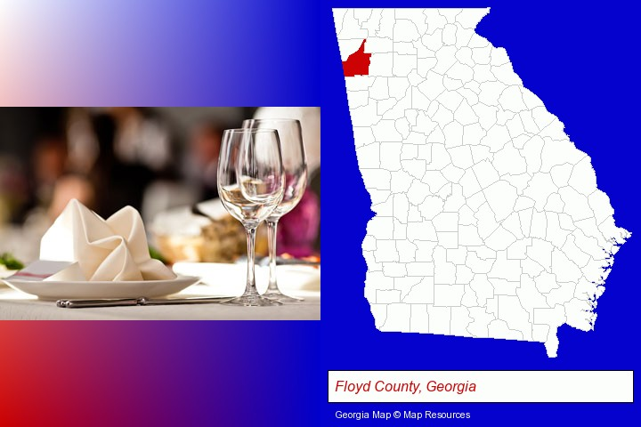 a restaurant table place setting; Floyd County, Georgia highlighted in red on a map