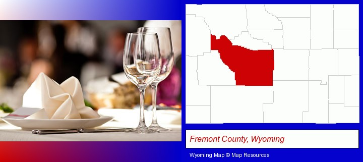 a restaurant table place setting; Fremont County, Wyoming highlighted in red on a map