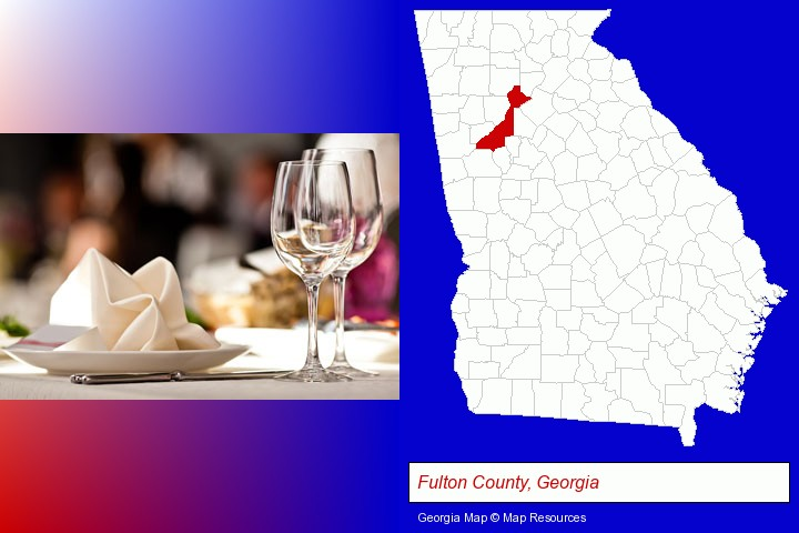 a restaurant table place setting; Fulton County, Georgia highlighted in red on a map