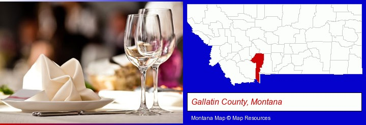 a restaurant table place setting; Gallatin County, Montana highlighted in red on a map