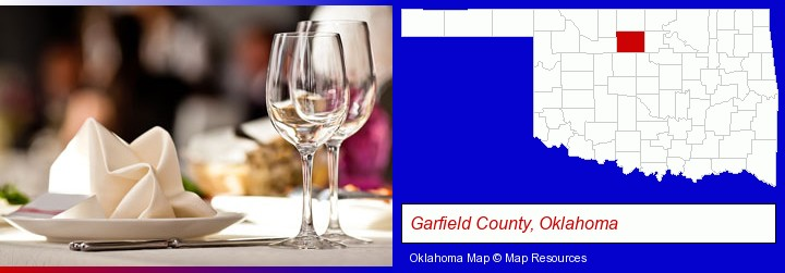 a restaurant table place setting; Garfield County, Oklahoma highlighted in red on a map
