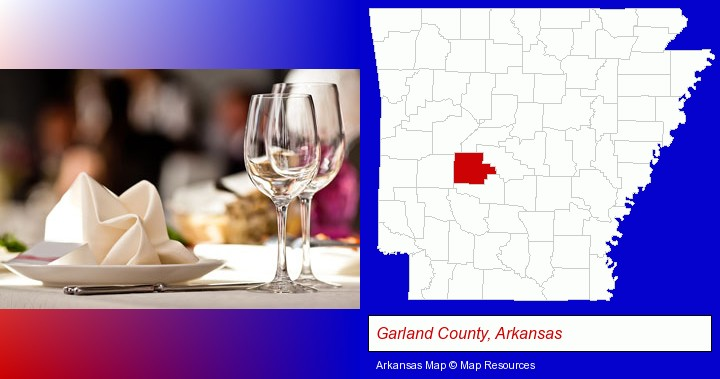 a restaurant table place setting; Garland County, Arkansas highlighted in red on a map