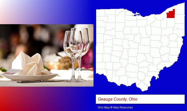 A Restaurant Table Place Setting Geauga County Ohio Highlighted In Red On Map