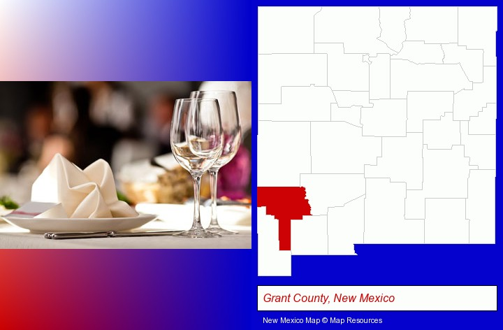 a restaurant table place setting; Grant County, New Mexico highlighted in red on a map