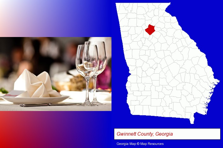 a restaurant table place setting; Gwinnett County, Georgia highlighted in red on a map