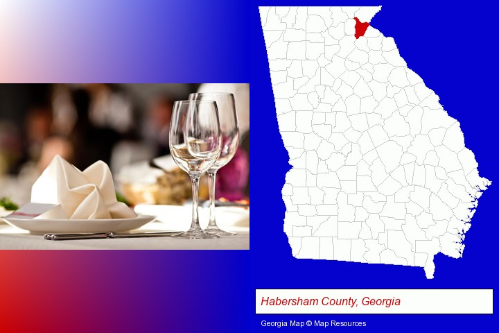 a restaurant table place setting; Habersham County, Georgia highlighted in red on a map