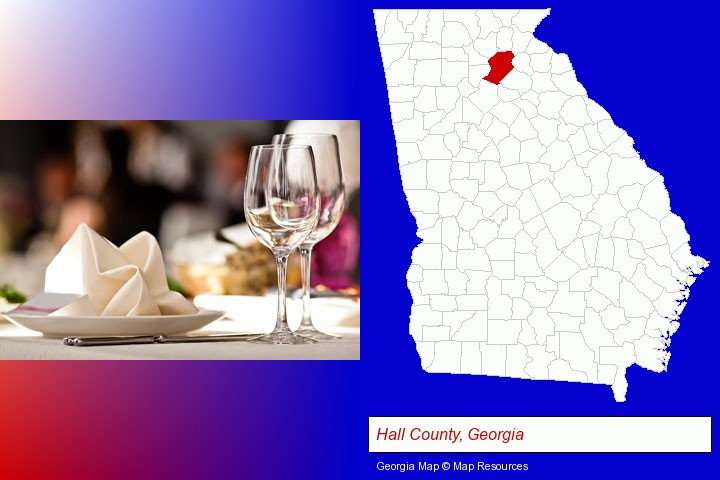 a restaurant table place setting; Hall County, Georgia highlighted in red on a map
