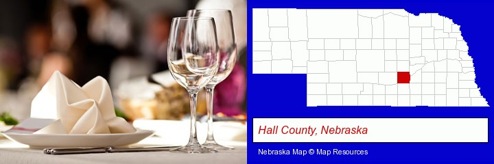a restaurant table place setting; Hall County, Nebraska highlighted in red on a map