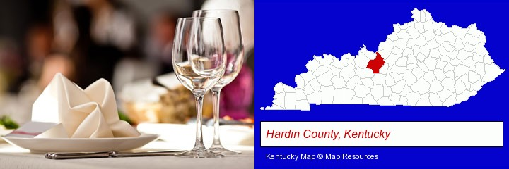 a restaurant table place setting; Hardin County, Kentucky highlighted in red on a map