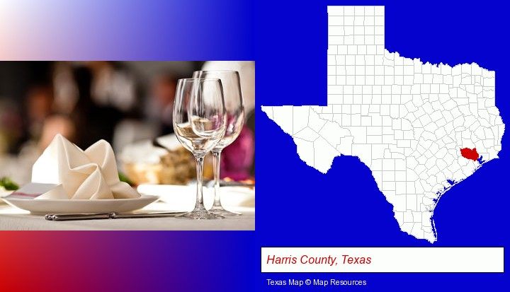 a restaurant table place setting; Harris County, Texas highlighted in red on a map