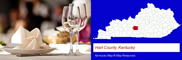 a restaurant table place setting; Hart County, Kentucky highlighted in red on a map