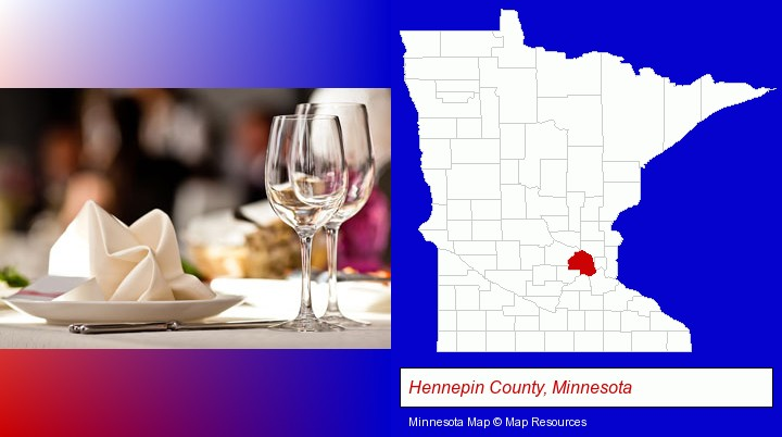 a restaurant table place setting; Hennepin County, Minnesota highlighted in red on a map