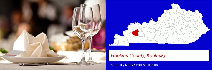 a restaurant table place setting; Hopkins County, Kentucky highlighted in red on a map