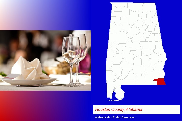 a restaurant table place setting; Houston County, Alabama highlighted in red on a map