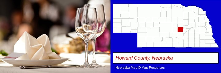 a restaurant table place setting; Howard County, Nebraska highlighted in red on a map