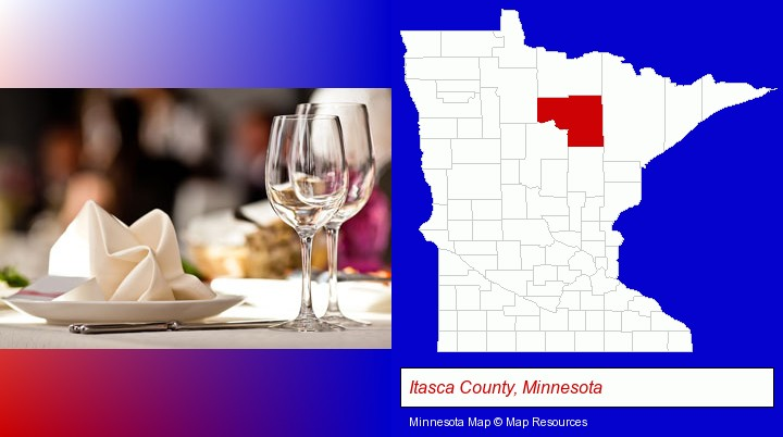 a restaurant table place setting; Itasca County, Minnesota highlighted in red on a map