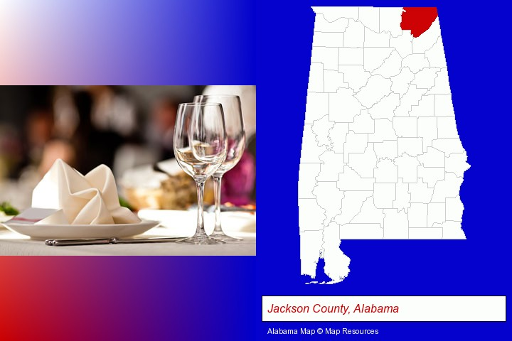 a restaurant table place setting; Jackson County, Alabama highlighted in red on a map