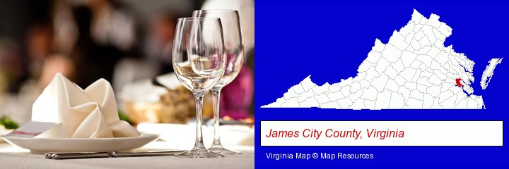 a restaurant table place setting; James City County, Virginia highlighted in red on a map