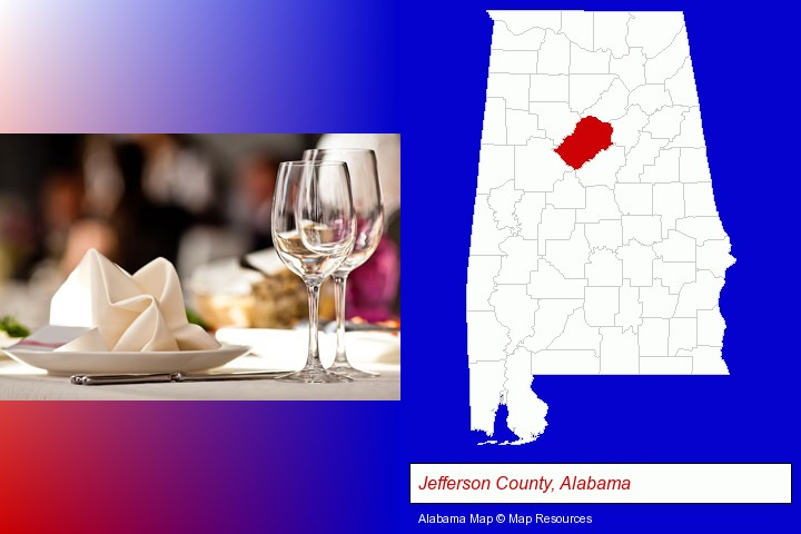 a restaurant table place setting; Jefferson County, Alabama highlighted in red on a map