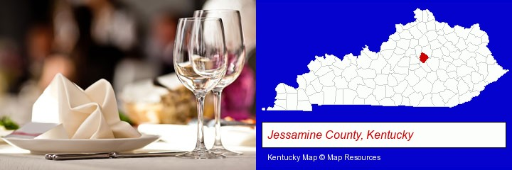 a restaurant table place setting; Jessamine County, Kentucky highlighted in red on a map