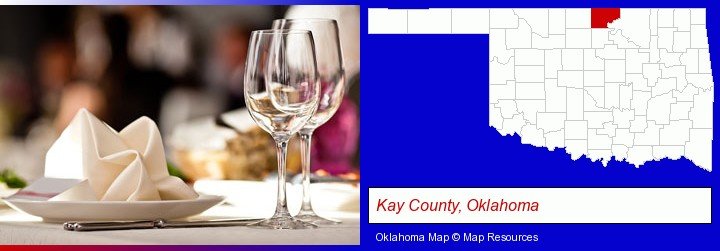 a restaurant table place setting; Kay County, Oklahoma highlighted in red on a map