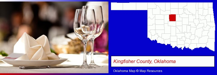 a restaurant table place setting; Kingfisher County, Oklahoma highlighted in red on a map
