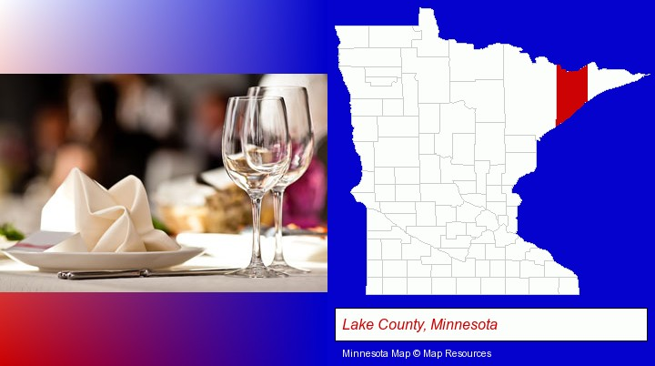 a restaurant table place setting; Lake County, Minnesota highlighted in red on a map