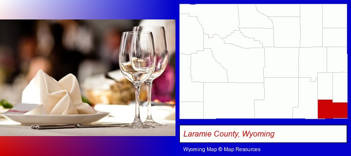 a restaurant table place setting; Laramie County, Wyoming highlighted in red on a map