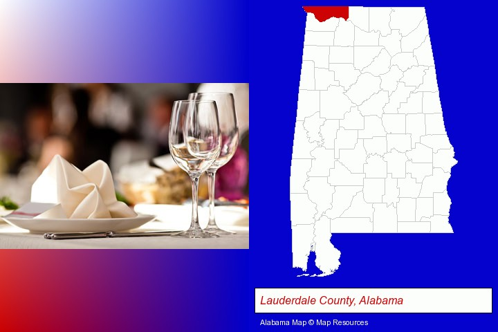 a restaurant table place setting; Lauderdale County, Alabama highlighted in red on a map
