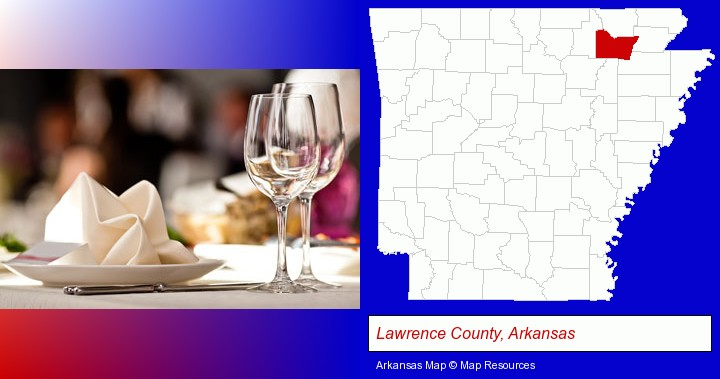 a restaurant table place setting; Lawrence County, Arkansas highlighted in red on a map