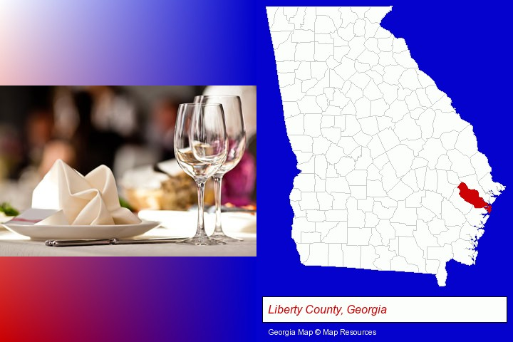 a restaurant table place setting; Liberty County, Georgia highlighted in red on a map