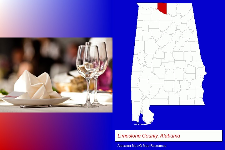 a restaurant table place setting; Limestone County, Alabama highlighted in red on a map